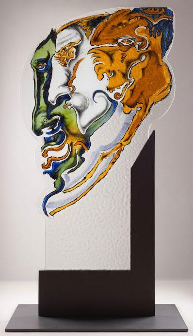 3 im Gespräch Freie Arbeit Glasmalerei Glasobjekte Innen und Außen Innenraum Skulpturen