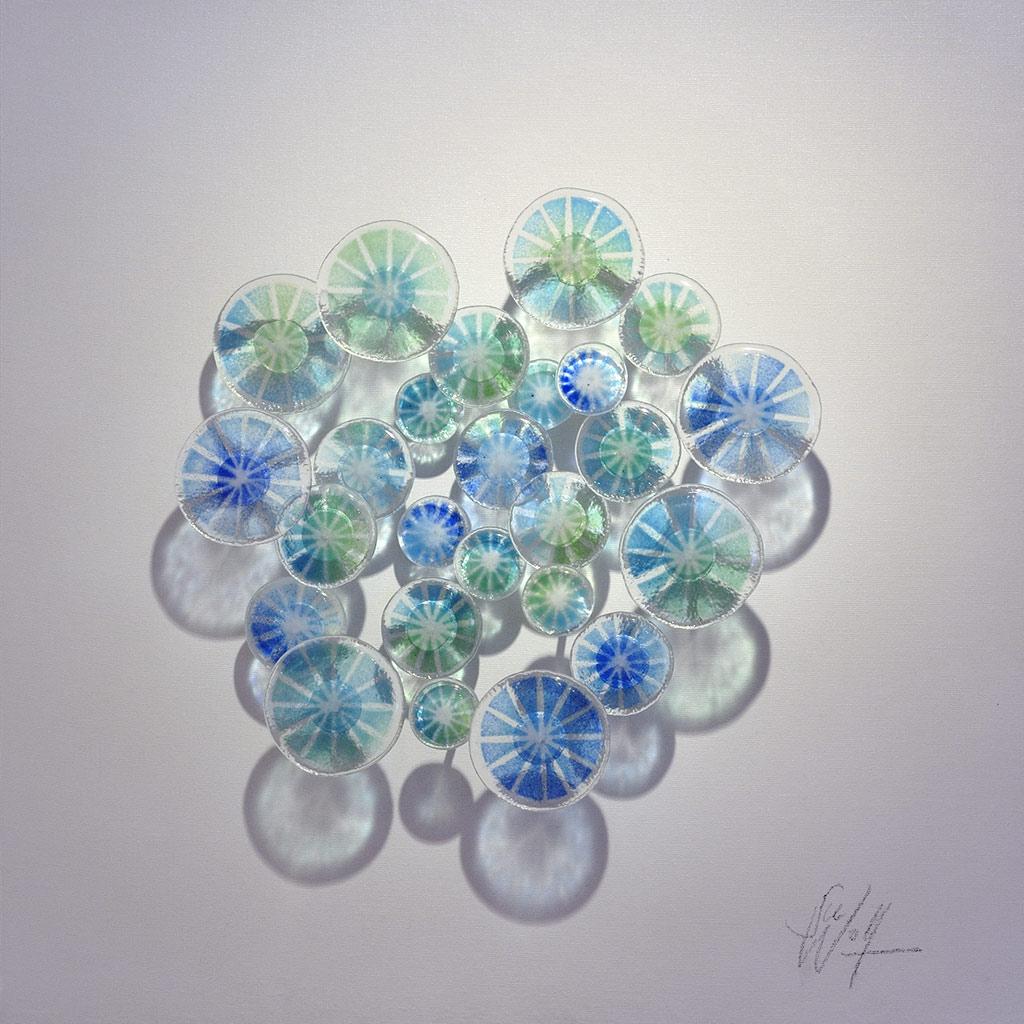Atoll Freie Arbeit Glasbilder Glasobjekte Reliefs