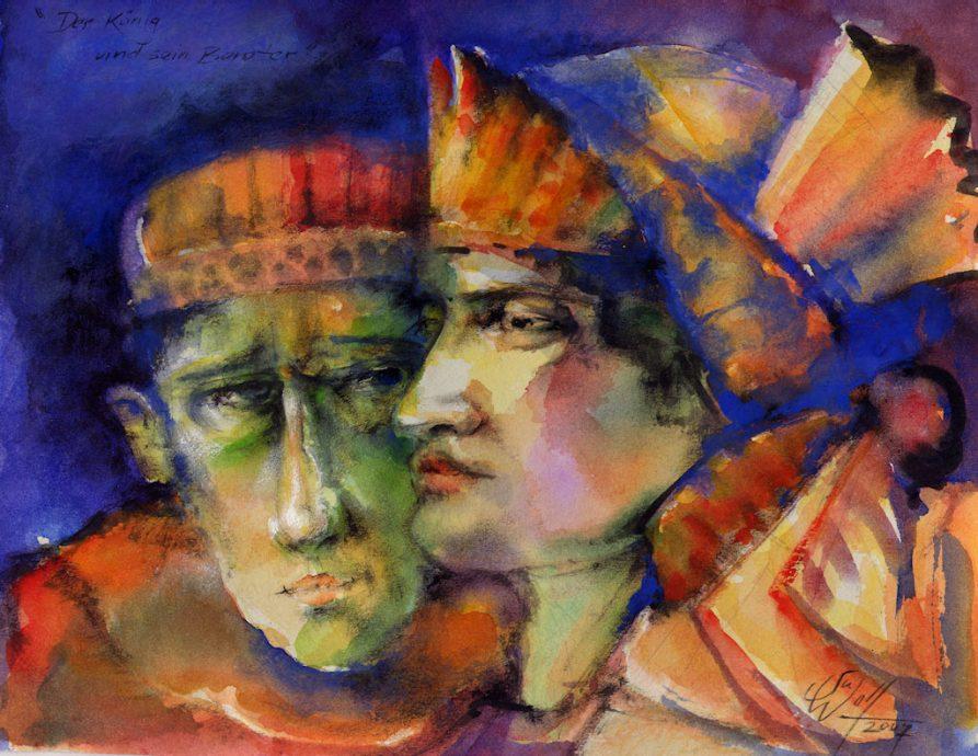 Der König und sein Berater Bilder Malerei und Zeichnung Portraits