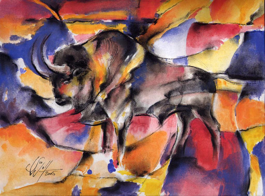 Die Farben des Stiers Bilder Freie Arbeit Malerei und Zeichnung