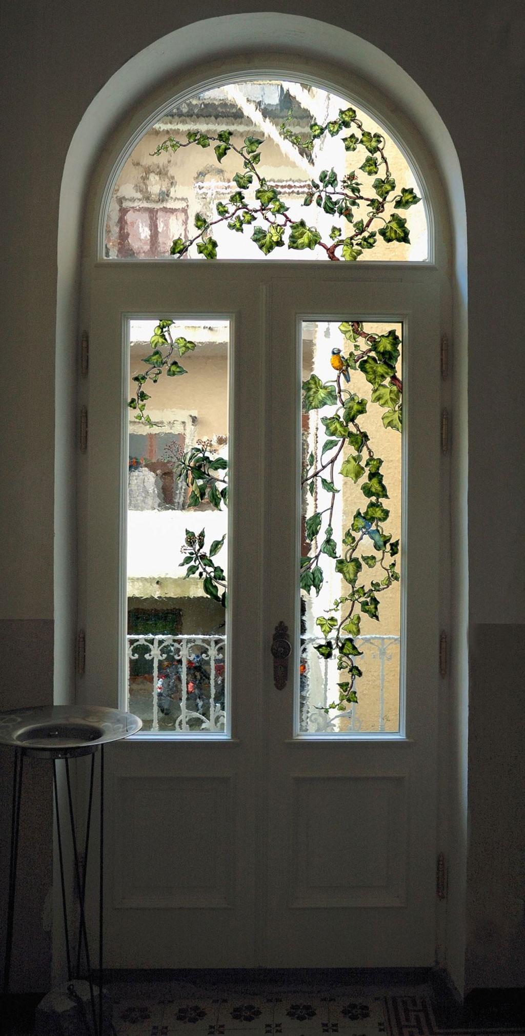Efeu Glaskunst in der Architektur Glasmalerei Innen und Außen Privatkunden Schönes Glas für Ihr Zuhause
