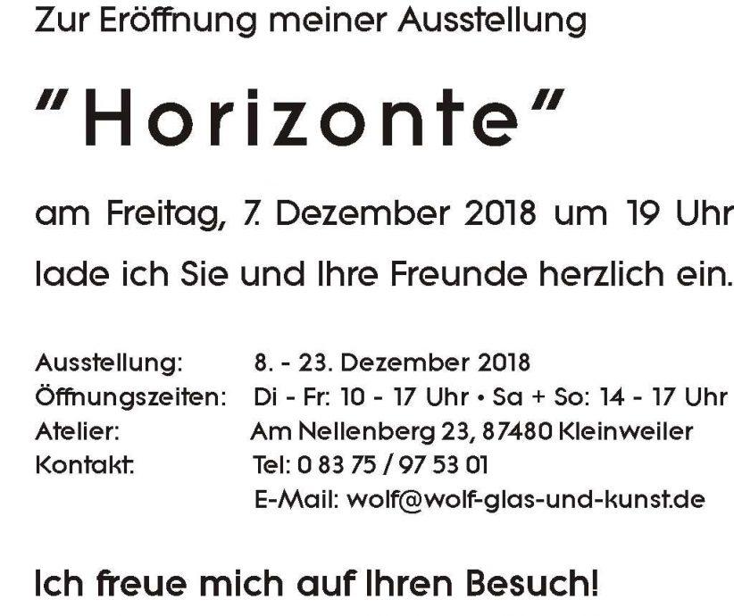 """Atelier-Ausstellung """"Horizonte"""" Ausstellung"""