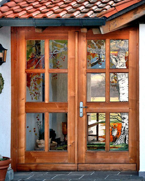 Birkenmoos Auftragsarbeit Glaskunst in der Architektur Glasmalerei Innen und Außen Privatkunden Schönes Glas für Ihr Zuhause