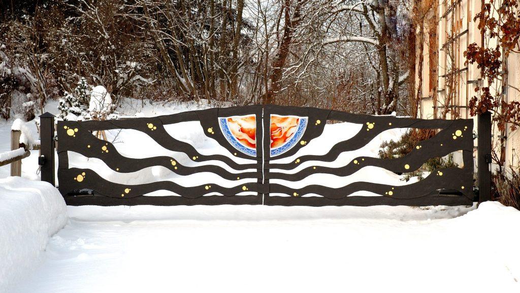 Feuer und Wasser Außenbereich Garten Glaskunst in der Architektur Innen und Außen Privatkunden Schönes Glas für Ihr Zuhause