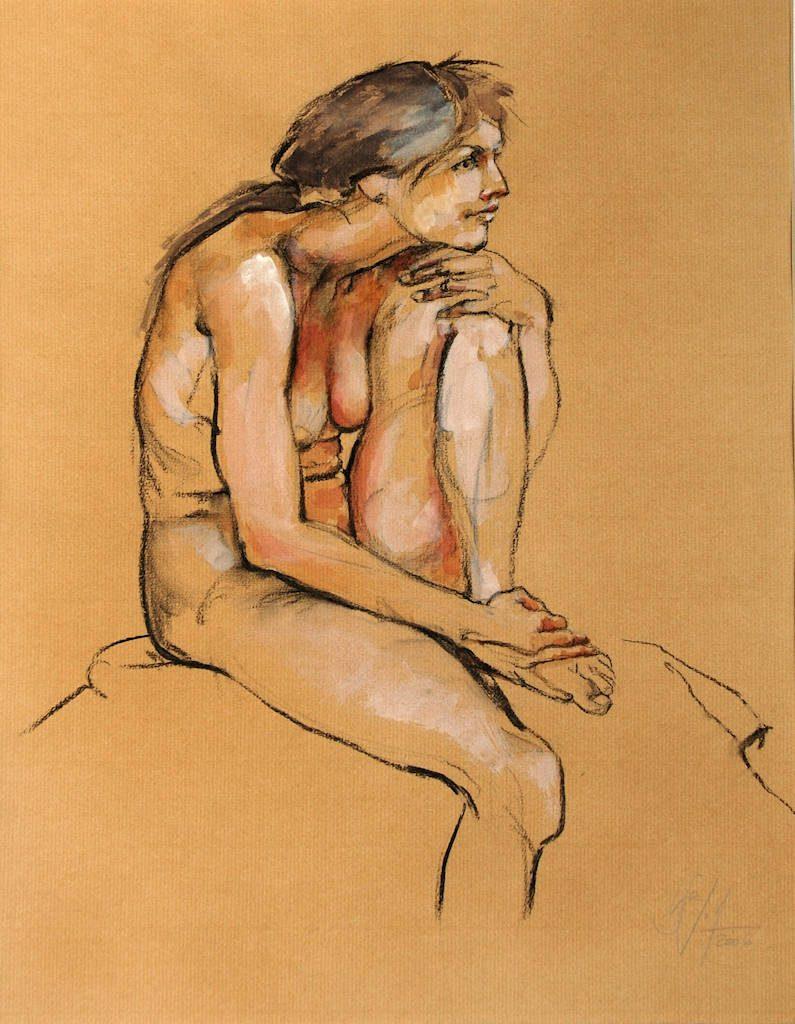Kauernd Bilder Freie Arbeit Malerei und Zeichnung