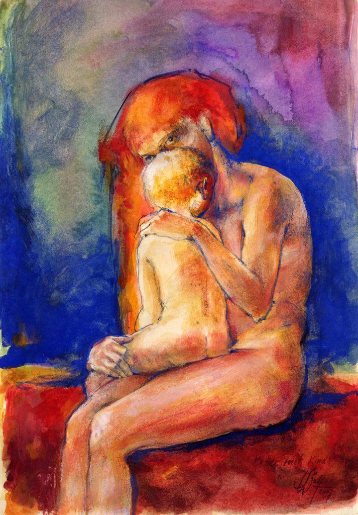 Mutter und Kind Bilder Freie Arbeit Malerei und Zeichnung