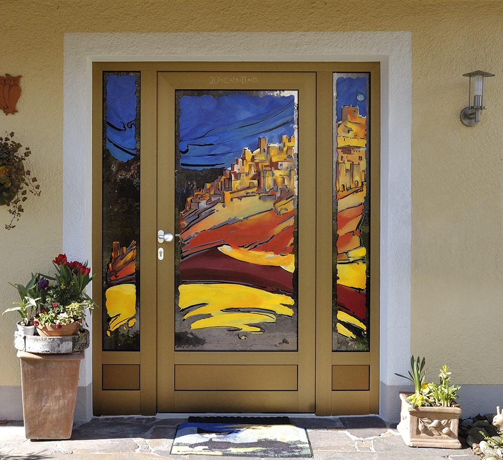 Wüstenstadt Auftragsarbeit Außenbereich Glaskunst in der Architektur Innen und Außen Privatkunden Schönes Glas für Ihr Zuhause